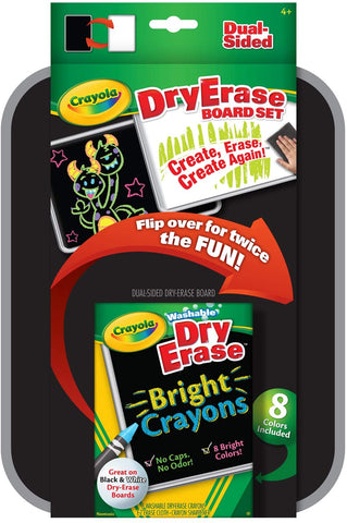 Crayola Dual Sided Dry Erase Board Set - White and Black Surface Washable