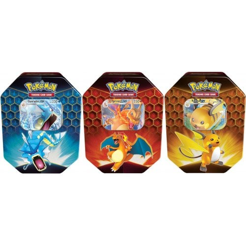 POKÉMON HIDDEN FATES TIN BUNDLE OF 3 (CHARIZARD GX, RAICHU GX, AND GYARADOS GX)