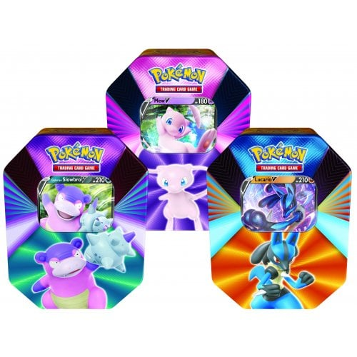 POKÉMON V FORCES TIN BUNDLE OF 3 (MEW, LUCARIO, AND GALARIAN SLOWBRO)