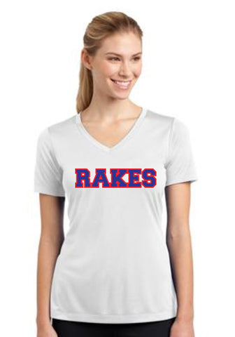 RAKES Ladies PosiCharge Competitor V-neck Tee (SM-LST353)