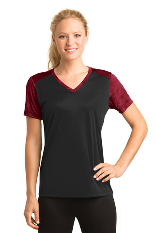 Sport-Tek® Ladies CamoHex Colorblock V-Neck Tee. LST371