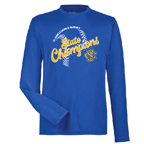 "SCC STATE CHAMPS - ""SCRIPT"" UNISEX PERFORMANCE L/S TEE"