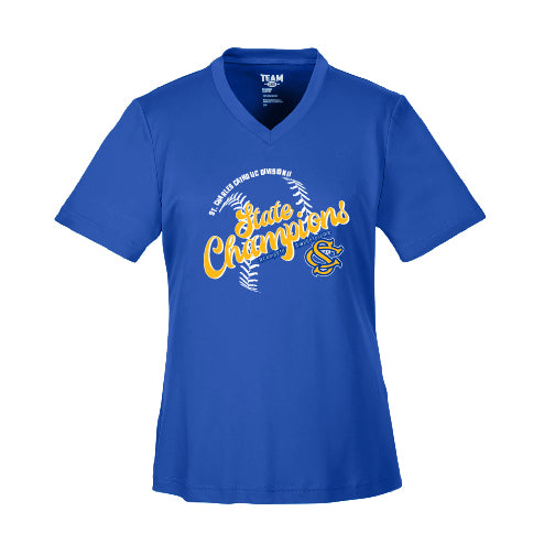 "SCC STATE CHAMPS - ""SCRIPT"" LADIES PERFORMANCE V-NECK"