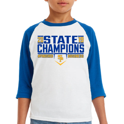 "2019 CHAMPS - ""FINISHED BUSINESS"" YOUTH RAGLAN SLEEVE TEE"