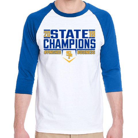 "2019 CHAMPS - ""FINISHED BUSINESS"" ADULT RAGLAN SLEEVE TEE"
