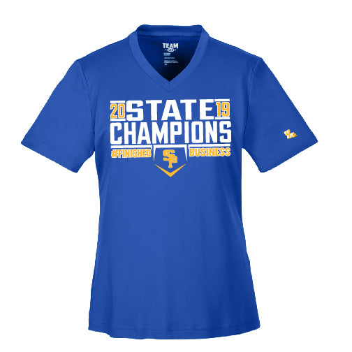 "2019 CHAMPS - ""FINISHED BUSINESS"" LADIES PERFORMANCE V-NECK"