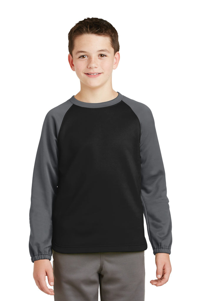 Sport-Tek® Youth Sport-Wick® Raglan Colorblock Fleece Crewneck. YST242