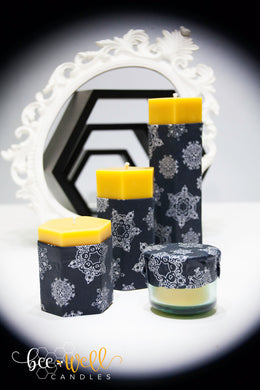 Winter Collection Hexagon Pillar Beeswax Candle Set
