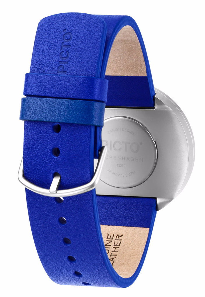 a4a8ce1dc ... PICTO White Matt Steel with Blue Leather Strap Unisex Medium Watch 43380