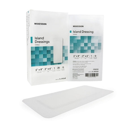 Adhesive Island Dressing 4 X 8 Inch Polypropylene / Rayon Rectangle 2 X 6 Inch Pad White Sterile