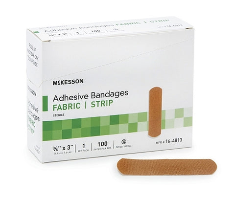 Adhesive Strip .75 X 3 Inch Fabric Rectangle Tan Sterile