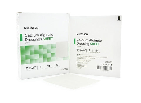Calcium Alginate Dressing McKesson 4 X 4.75 Inch Rectangle Calcium Alginate Sterile