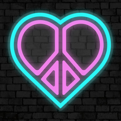 Heart of Peace Neon Sign