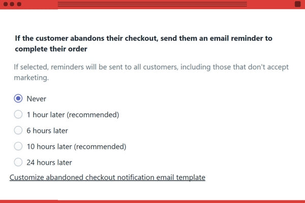 Notification Panier abandonné Shopify