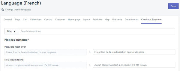 Traduction Checkout Shopify