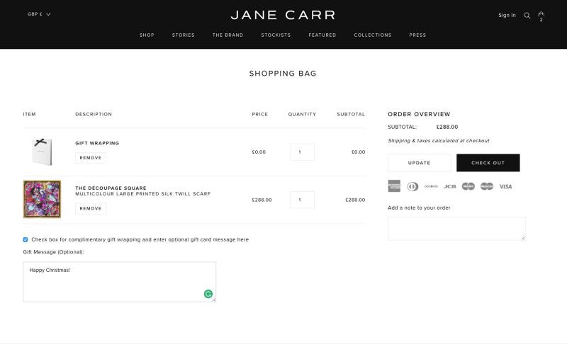 Jane Carr wrap option au paiement