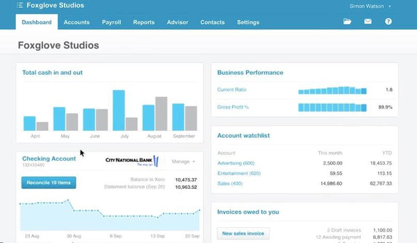 Xero interface comptabilité