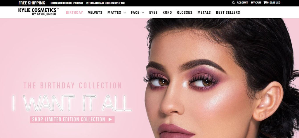 Kylie cosmetics - shopify site