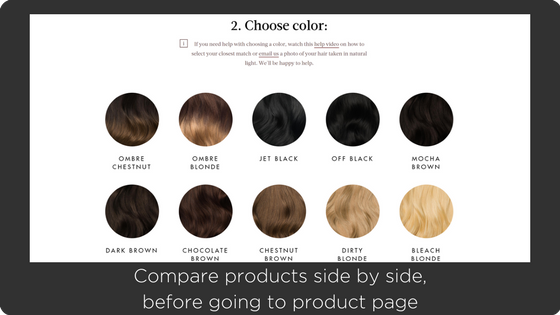 Luxyhair - great shopify design second step