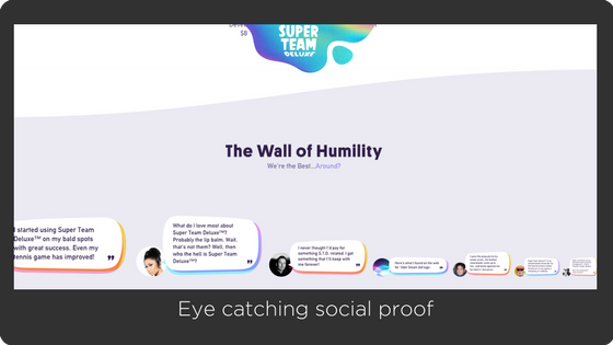 Super team deluxe - greate shopify store design and UX - social proof
