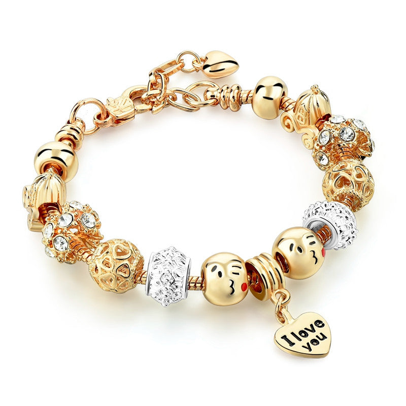 Brand new Cute Gold Emoji Crystal Beads Bracelets For Women Silver Snake  CA72