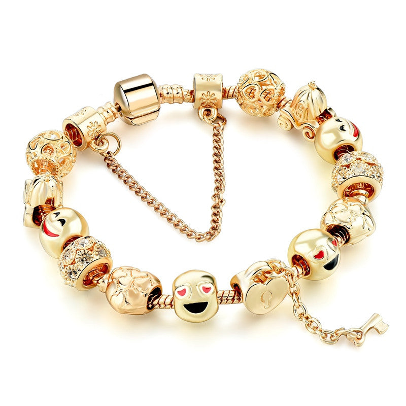 Well known Cute Gold Emoji Face Beads Bracelets For Women Silver Snake Chain  JT87