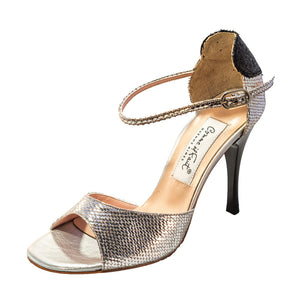 Exclusive Comme il Faut Tango Shoes - Plata y Negro (con Corazon) 9cm