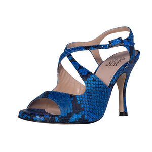SUR - Dita Reptile Blue and Black 8cm heel (Regular to Wide)