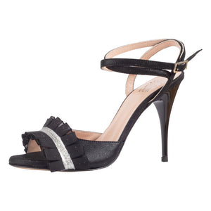 Grace Camoscio Nero Ruffle 9cm (Regular to Narrow)
