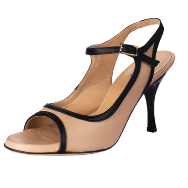SUR - Beatriz Nappa Nude e Nero (Regular to Wide) 7cm