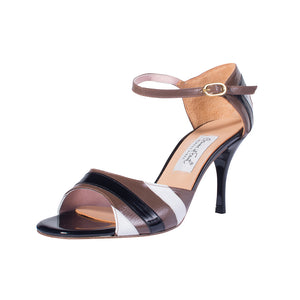 Comme il Faut Tango Shoes - Negro, Blanco y Cafe 7cm
