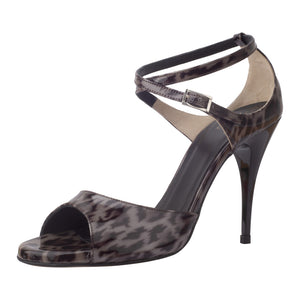 Anais Vernice Leopardo Grigio 9cm (Regular to Narrow)