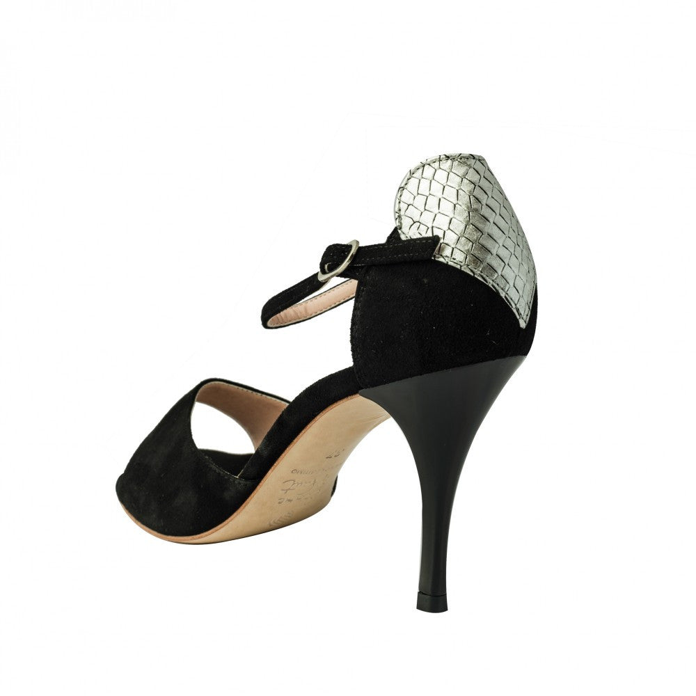 Exclusive Comme il Faut Tango Shoes - Negro Plata con Corazon