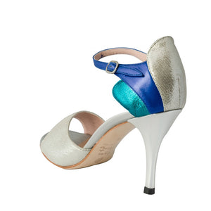 Exclusive Comme il Faut Tango Shoes - Plata Turquesa y Azul