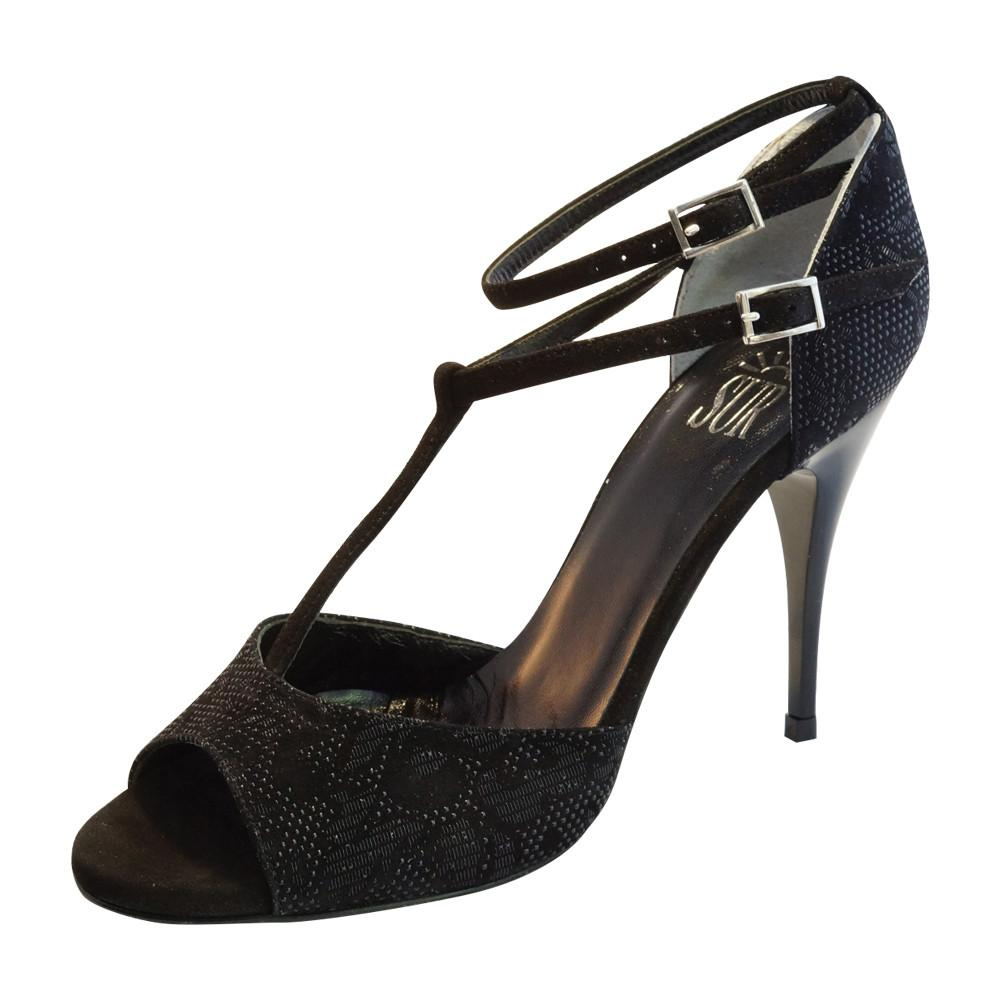 SUR - Nicole Black Suede 9cm heel (Regular to Narrow)
