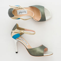 Exclusive Comme il Faut Tango Shoes - Peltre plata y azul