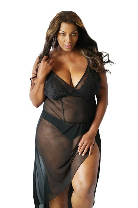 Inspire Lace Mesh Sweetheart Gown & Thong