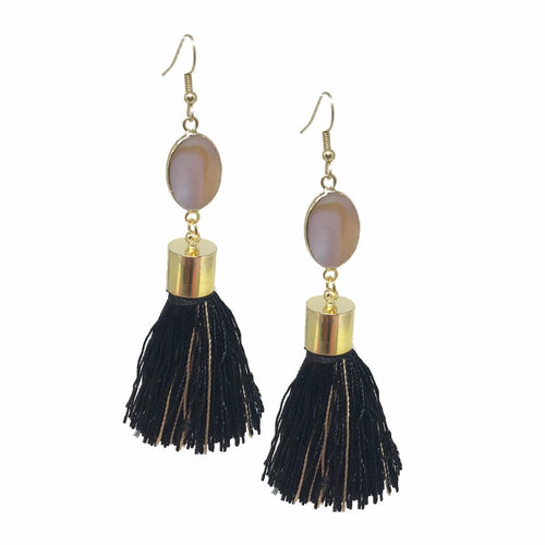 Black and Gold Abalone Tassels