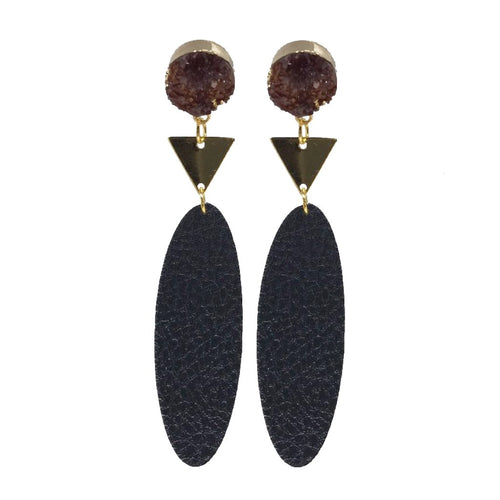 Druzy and Gold Faux Leather Earrings