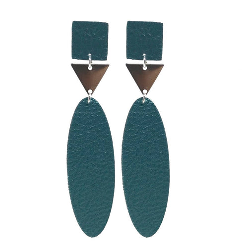 Silver Faux Leather Drop Earrings