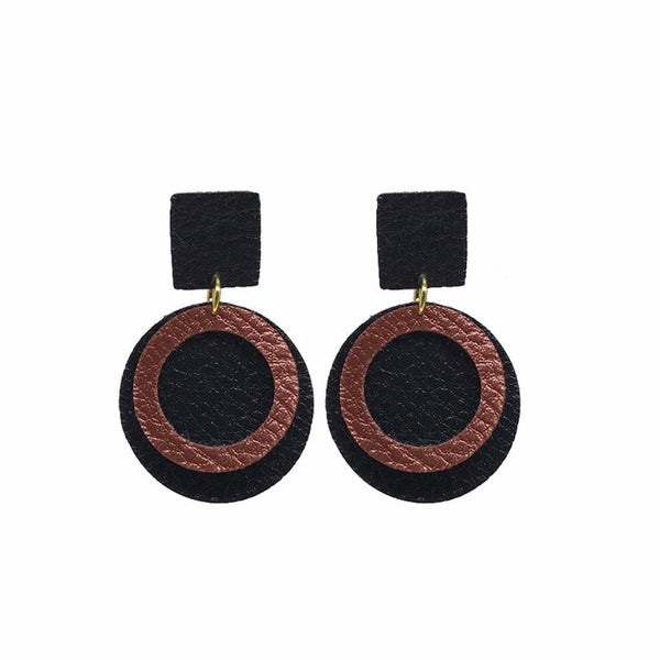Black and Burnt Faux Orange Leather Earrings