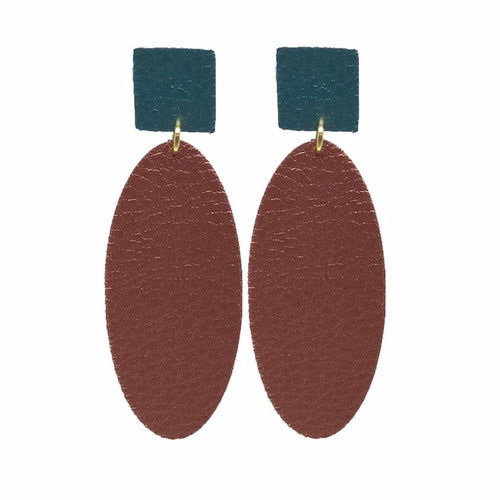 Brown and Green Faux Leather Earrings