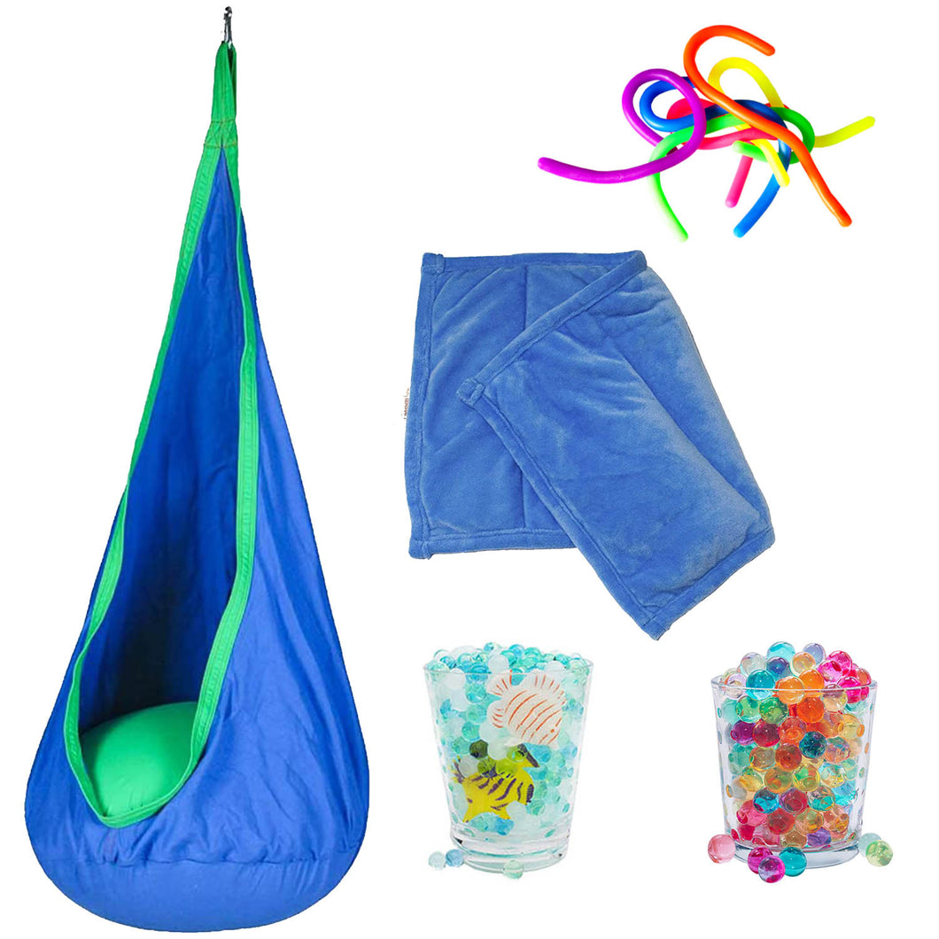 Sensory Toy Starter Kit - Pod Chair Swing, Water Beads, Weighted Blanket, Fidget Toy