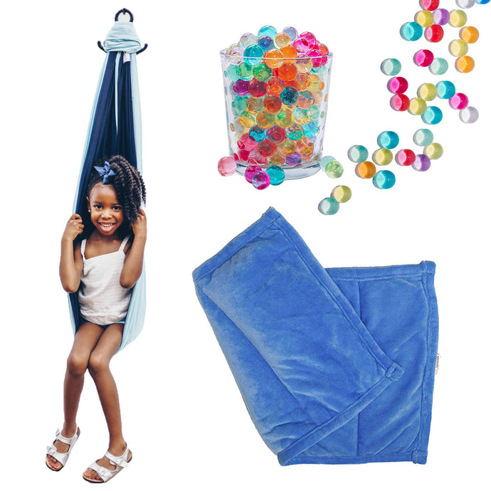 Sensory Compression Swing - 3lb Weighted Lap Pad - Water Beads Combo Pack