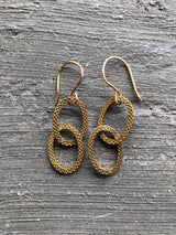 Etched Brass and Loop Earrings