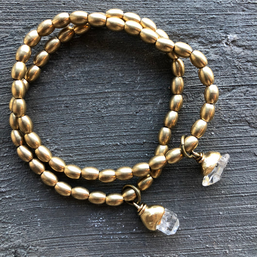 Brass and Herkimer Bracelet