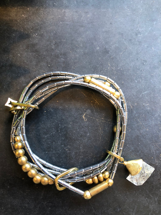 Pyrite and Brass Multistrand Bracelet