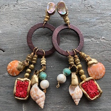 Shell and Wood Earrings
