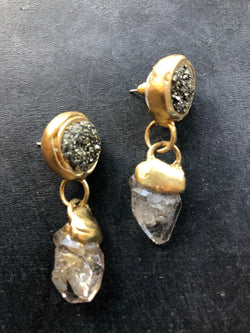 Herkimer Diamond Earrings with Pyrite