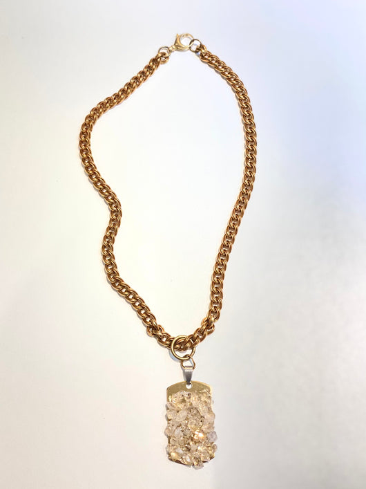 Herkimer Diamond Dog Tag Necklace